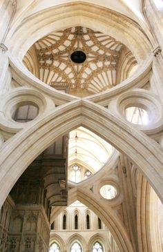The scissor arches in Wells Cathedral from the south transept.