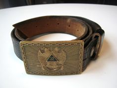 masonic belt: 32nd degree regalia bronze buckle thick by edgertor