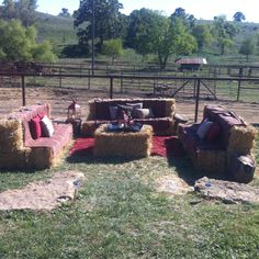Straw-bails sitting area! Great for an outdoor wedding @ the Circle S Ranch (Lawrence Ks )I had fun doing this.