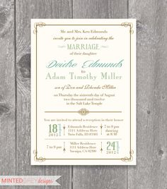Printable Mint Turquoise & Gold Wedding by MintedGreyDesigns