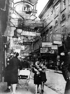 Király Street, Budapest, 1929    ::    Photo by Imre Kinszky.  a main thoroughfare in one of Budapest's biggest Jewish neighborhoods.