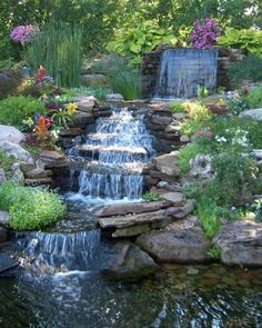 Wonderful Leveled Waterfall Completing The Ponds For Backyard Decorating Idea With Pretty Flowers And Plants Ornaments Idea - Use J/K to navigate to previous and next images