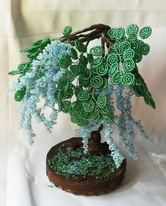 Wistaria Tree Wire Beaded Sculpture Handmade by SweetsOfLiveArtOil