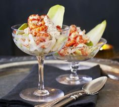 Give the classic prawn cocktail a twist by pairing crayfish tails with tangy horseradish and creamy avocado in this delicious dinner party starter Fish Recipes, Seafood Recipes, Gourmet Recipes, Cooking Recipes, Healthy Recipes, Salmon Recipes, Party Recipes, Delicious Recipes, Appetizer Recipes