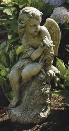 "Guardian Angel Cherub With Little Bird Sitting On Pedestal 20"" Tall Garden Statue"