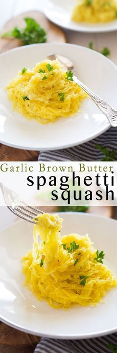 Garlic Brown Butter Spaghetti Squash is quick and healthy side dish that is super cheesy and tossed in nutty garlicky browned butter! One bite and you won't believe how light it really is!