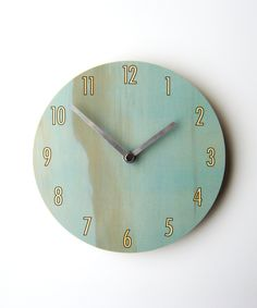 Blue stained wooden clock #plywood #natural #design