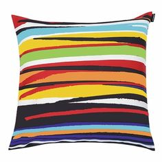 Designer Marjaana Virta's skillful use of pigment and movement will brighten up any space, so prop up one or two of these pillows to give you favorite seat a fresh face. Marimekko Circus Multicolor Throw Pillow - $48