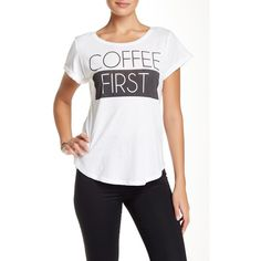 Signorelli Coffee First Tee featuring polyvore, fashion, clothing, tops, t-shirts, white, pattern t shirt, crew neck t shirt, print t shirts, white t shirt and short sleeve crew neck t-shirt