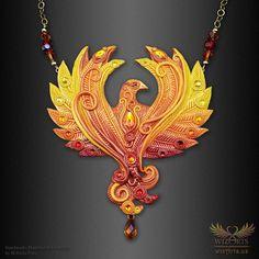 *Phoenix* Magickal, Handmade Statement Art Necklace - wizArts Jewelry Art, Beaded Jewelry, Handmade Jewelry, Art Necklaces, Polymer Clay Necklace, Gold Filled Chain, Magick, Unique Art, Wearable Art