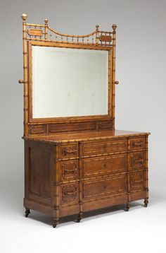 American maple faux bamboo dresser. Late 19th century, unsigned, attributed to R.J. Horner Company, New York.