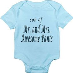 Funny Baby Onesie - Funny Baby Boy Onesie Bodysuit- Son of Mr and Mrs. Awesome Pants via Etsy