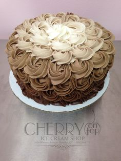 Chocolate Ombre Rosette Cake