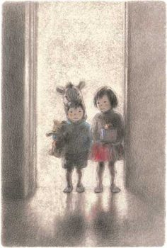 Please feel free to visit my boards and pin what you like. (Illustration by Chiaki Okada) with a teddy bear Japanese Illustration, Children's Book Illustration, Amor Animal, Retro Art, Whimsical Art, Oeuvre D'art, Graphic Design Art, Illustrations Posters, Illustrators