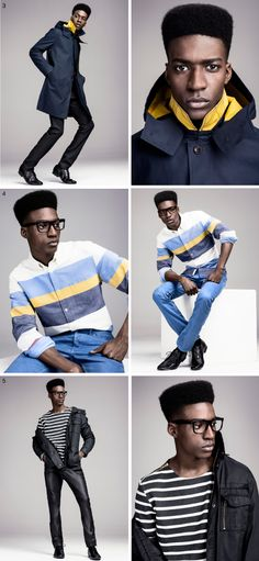 Great combo of marine blue and black, with the yellow folded neck - urban and cool!