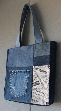 Vintage Style Typography Print Fabric and Denim Patch with Two Front Pockets Tote with Coordinating Soft Cotton Lining 247977403