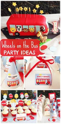 A fun Wheels on the Bus themed 1st birthday party for a boy who loves the song, with an amazing cake!  See more party ideas at CatchMyParty.com!
