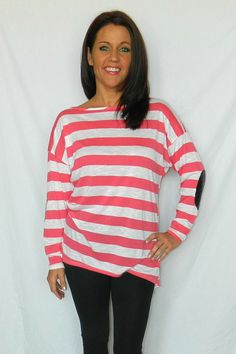 One Faith Boutique - Coral and White Striped Top with Elbow Patches, $29.00 (http://www.onefaithboutique.com/tops/coral-and-white-striped-top-with-elbow-patches/)