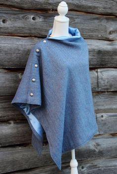 Harris Tweed Baby Blue Herringbone Poncho