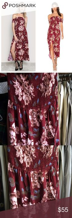 Reverse, Off Shoulder Taylor Floral Dress 🚫NO TRADES🚫 🔅PRICE IS FIRM🔅  Beautiful and lightweight maxi dress in a rich burgundy floral print by Australian label Reverse.   •Rayon Blend •Unlined •Elastic smocked bodice •Side slit •Neckline to hem approx 46in in length Reverse Dresses Maxi