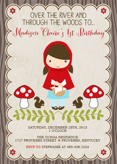 Little Red Riding Hood Girls Printable Party by CherryBerryDesign Little Red Hood, Little Red Ridding Hood, Picnic Birthday, Girl 2nd Birthday, Red Party, Baby Party, Invitation Birthday, Party Invitations, Red Riding Hood Party