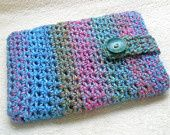 Kindle Fire eReader Cover with Strap & Button Closure in Blue Monet Watercolors 100% Acrylic Crochet - Ready-to-ship