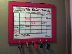A calendar decal that can be put on the inside of a frame or on a dry erase board to be used over and over again.  Personalized with a family name or a saying that fits your family.
