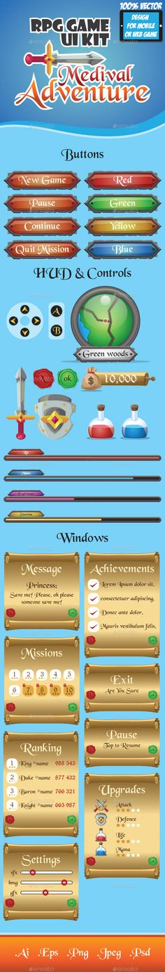 Buy RPG Game UI Kit - Medieval Adventure by globeweb on GraphicRiver. Start pack kit for RPG Role Playing Game or medieval era type game. The kit includes buttons, HUD screens and items, . Start Pack, Game Start, Jeopardy Game Template, Blockchain Game, Game Interface, Interface Design, Medieval Games, Graphics Game, Start Screen