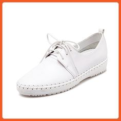 0848fd48 AmoonyFashion Women's No Heel Solid Lace Up Round Closed Toe Flats-Shoes,  White, 39