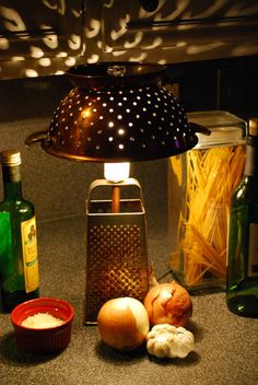 Rustic Recycled Cheese Grater and Colander by MooShuBuckaroo