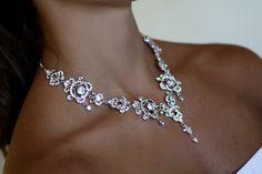 Swarovski Bridal Set, Bridal Earrings, Bridal Necklace, Crystal Necklace, Wedding Jewelry, by simplychic93 on Etsy
