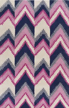 Whimsical navy and pink rug by designer @florencebaust for Surya (MTP-1003).