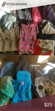 Big lot of small clothing Big lot bundle of clothing all size small some sizes say medium or extra small but all will fit a size small young girl teen or woman brands rampage forever 21 styles 4 less adidas some new with tags you get dresses tunics long sleeves skull tank top with crochet back tank tops one workout top shirts tops etc lace dress you get 15-16 items total purple halter dress has been sold Forever 21 Dresses Midi