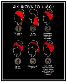 to Create a Hairstyle with a Bandana Six easy ways to wear a scarf, including some simple rockabilly hair styles.Six easy ways to wear a scarf, including some simple rockabilly hair styles. Ways To Wear A Scarf, How To Wear Scarves, Wearing Scarves, Curly Hair Styles, Natural Hair Styles, Rockabilly Fashion, Rockabilly Hairstyle, Rockabilly Ideas, Retro Hairstyles