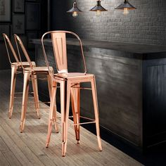 The Elio bar chair in gold; will accent any bar, restaurant or hotel in a chic and fashionable statement. Consumers across the globe will be clamoring to install this new gorgeous bar chair to outfit their homes, lofts or apartments. Unique Bar Stools, Contemporary Bar Stools, Metal Bar Stools, Modern Bar Stools, Modern Chairs, Deco Restaurant, Vintage Restaurant, Restaurant Design, Plywood Furniture