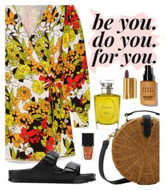 """Be beautiful"" by elliewriter ❤ liked on Polyvore featuring Attico, MANGO, Birkenstock, Christian Dior, Bobbi Brown Cosmetics, Gucci, MAC Cosmetics, floralprint, polyvorecommunity and polyvoreeditorial"