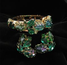 Green Rhinestone Unsigned Clamper Demi Bracelet and by Elsewind, $90.00