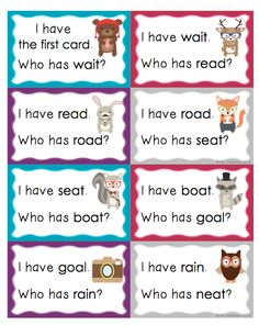 """CVVC Words """"I Have, Who Has?"""" Fun way to practice reading long vowel teams."""