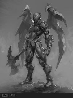 """Arioch sk by agnidevi """"Arioch brief asked for a humanoid mecha character emerging from the flames. With flamethrower in one hand and axe in another you can play with different ways on how to present your character. Although Square liked the initial sketch they asked for a more dynamic pose."""""""