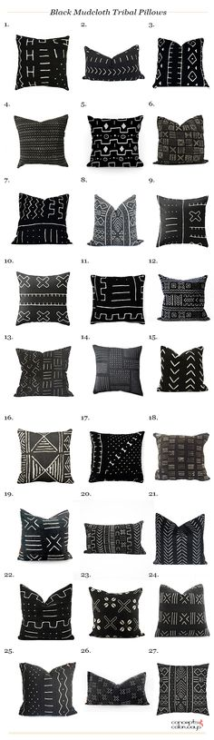 black mudcloth tribal pillows, african tribal pillows, product roundup, get the look, modern tribal pillows, design trends