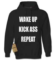 Expression Tees Wake Up, Kick Ass, Repeat Workout Unisex Adult Hoodie -- You can find out more details at the link of the image.