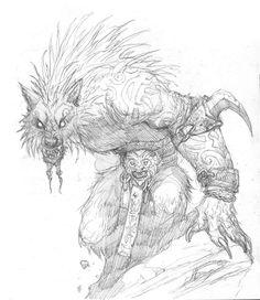 Bocetos de Prescott para Hombre lobo el Apocalipsis (20 aniversario)