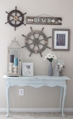 2946 best Beach House Decorating Ideas images on Pinterest   Beach     nautical seaside beach home wall decor decorative i like the rustic look  but this is cute for like a beach house coastal beach decor beach decor  beach wall