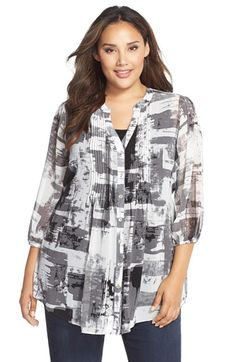 f39b1643d02 MELISSA MCCARTHY SEVEN7 Print Tie Waist Pintuck Blouse (Plus Size)  available at  Nordstrom
