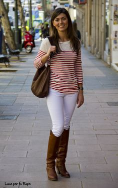 Stripes, white skinnies, and boots