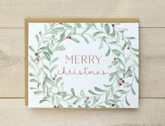 Christmas Card Set, Christmas Wreath Cards, Watercolor Christmas Cards, Floral…