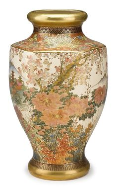 Fine Japanese Satsuma earthenware vase  probably koshida, meiji period, late 19th century   H. 15 in.