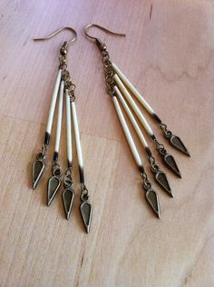 Dangling Dagger Porcupine Quills Earrings