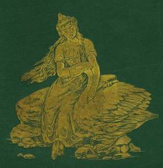 The Wild Swans -- Fairytale Illustration -- stamped in gold on the front of an old book of Andersen's Fairy Tales