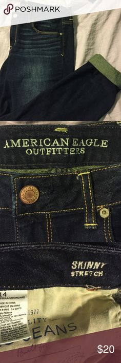 American Eagle Dark Wash Skinny Jeans Super dark wash AE jeans that are a perfect wear for any time! Can be casual or dressed up! American Eagle Outfitters Jeans Skinny